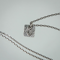 Silver Geometric Pendant - Etched & Oxidised - with Spiral Charm