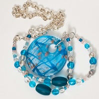 Turquoise & Silver Cascade Necklace with Large Pendant