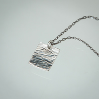 Rectangular Hammered Silver Waterscape Pendant with Graduated Oxidised Finish