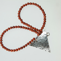 Red Jasper Bead Choker Necklace with Large Silver Hammered Triangular Pendant