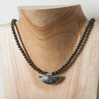 Hematite Bead Choker Necklace with Silver Art Deco Style Pendant