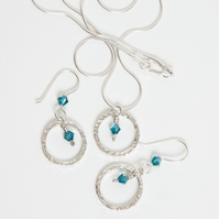 Silver Hoop Pendant Necklace & Earrings w Blue-Green AB Swarovski Crystals SOLD