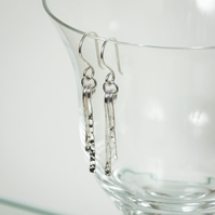 Hammered Silver Paddle Dangle Earrings