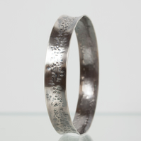 Oxidised Silver Anticlastic Bangle with Hammered Texture SOLD