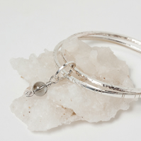 Textured Silver Double Bangle Set with Small Ring & Swarovski Globe Charm SOLD