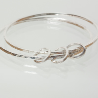 Textured Silver Double Bangle Set with Feature Small Rings