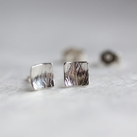 Hammered Silver Concave Square Stud Earrings SOLD