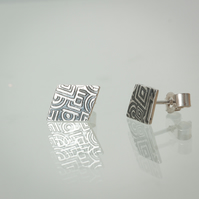 Sterling Silver Rhombus Stud Earrings Etched with Geometric Pattern