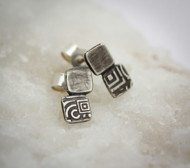 Etched & Oxidised Silver Stud Earrings with Plain Satin & Geometric Squares
