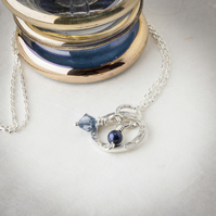 Hammered Silver Hoop Pendant with Blue Swarovski Crystal & Pearl Charms