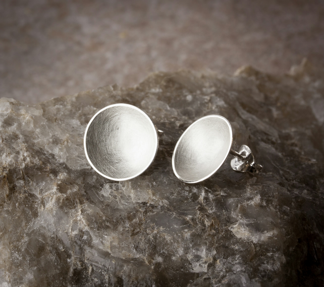 Satin Textured Silver Bowl Stud Earrings SOLD