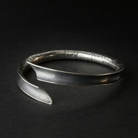 Open Silver Anticlastic Bangle Etched with Reptile Skin Pattern & Oxidised