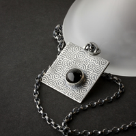 Oxidised Silver Square Etched Pendant with Onyx Cabochon