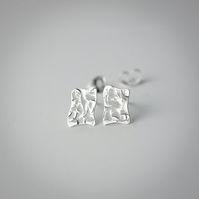Textured Silver Irregular Puddle-Shaped Stud Earrings