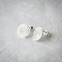 Silver Hammered Spiral Stud Earrings