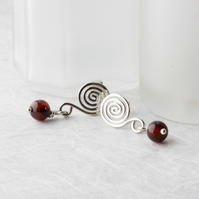 Silver Spiral Earrings with Brown Agate Dangles