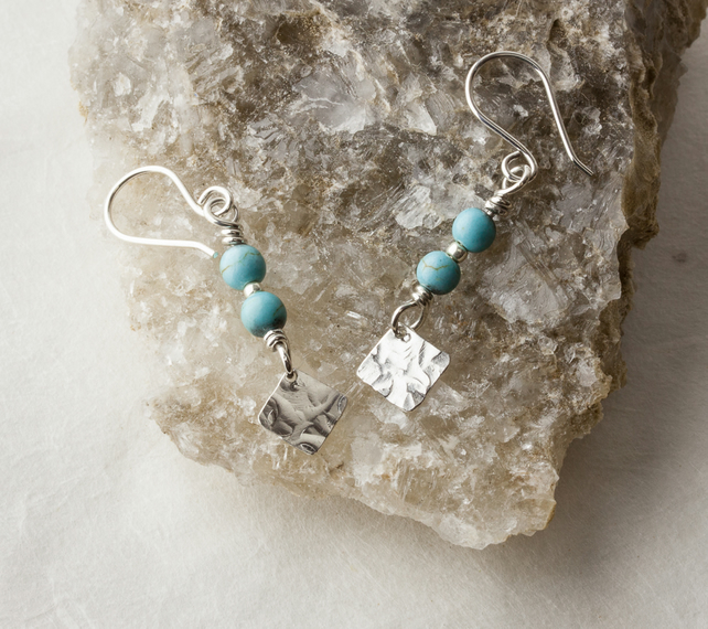 Silver Drop Earrings with Turquoise Gemstone Beads and Hammered Dangle SOLD