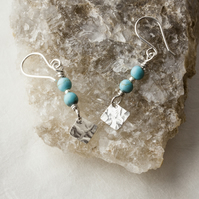 Silver Drop Earrings with Turquoise Gemstone Beads and Hammered Dangle