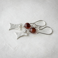 Silver Drop Earrings with Brown Agate Beads and Hammered Silver Dangle SOLD