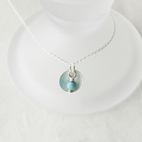 Silver Satin Bowl Pendant with Twist-Wrapped Turquoise Bead Dangle