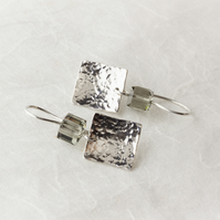 Hammered Silver Square Dangle Earrings with Swarovski® Crystal Cubes