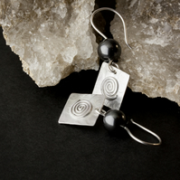 Silver Square Dangle Earrings with Black Swarovski® Crystal Pearls