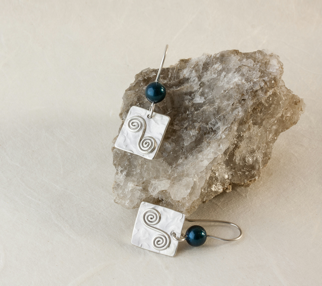 Silver Square Dangle Earrings with Petrol Swarovski® Crystal Pearls