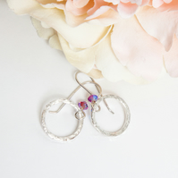 Hammered Silver Hoop Earrings with Swarovski® Fuchsia Crystals