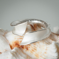 Open Silver Anticlastic Ring with Etched Reptile Skin Pattern