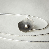 Silver Blossom Flower Pendant with Oxidised Finish
