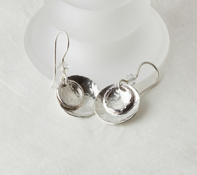 Hammered Silver Dish & Hoop Dangle Earrings with Swarovski® Crystals