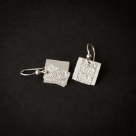 Silver Double Dangle Earrings with Etched Rectangles over Satin Squares SOLD