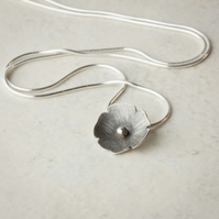 Blossom Flower Pendant, Silver with Oxidised Finish SOLD