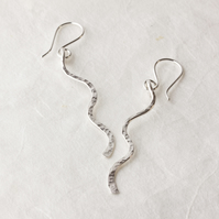 Textured Silver Wavy Dangle Earrings SOLD
