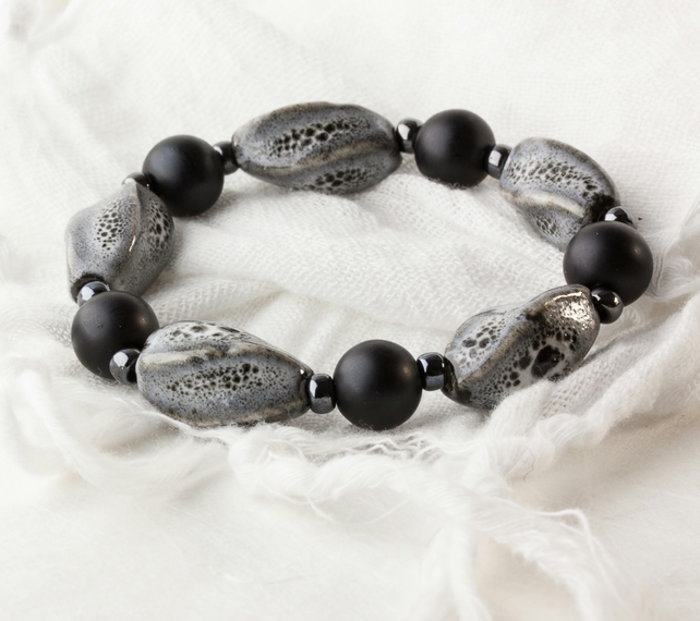Black & Grey Stretch Bracelet with Porcelain Beads & Glass Pearls