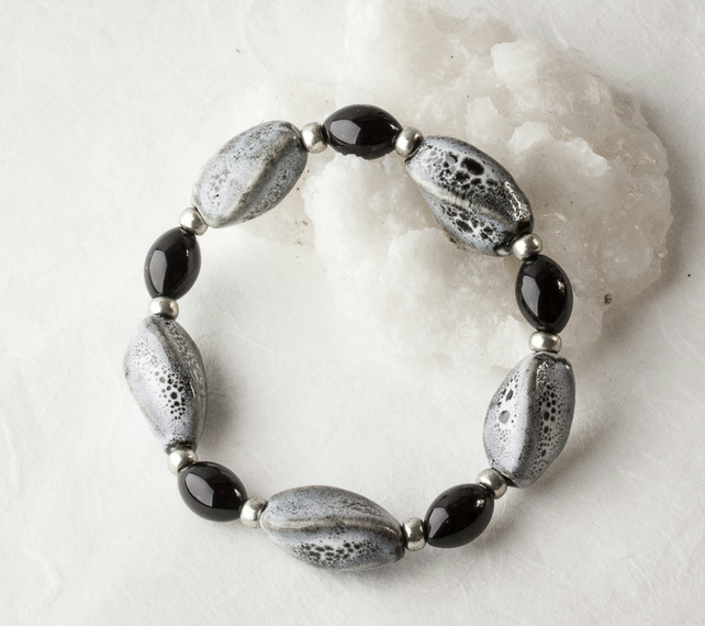 Stretch Stacking Bracelet with Mottled Grey Porcelain Beads & Black Stone Beads