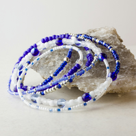 Stretch Stacking Bracelet  with Blue, Silver & White Beads