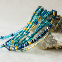 Stretch Stacking Bracelet or Necklace with Turquoise, Teal & Golden Beads