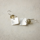 Hammered Silver Square Dangle Earrings with Cut Crystal Cushions
