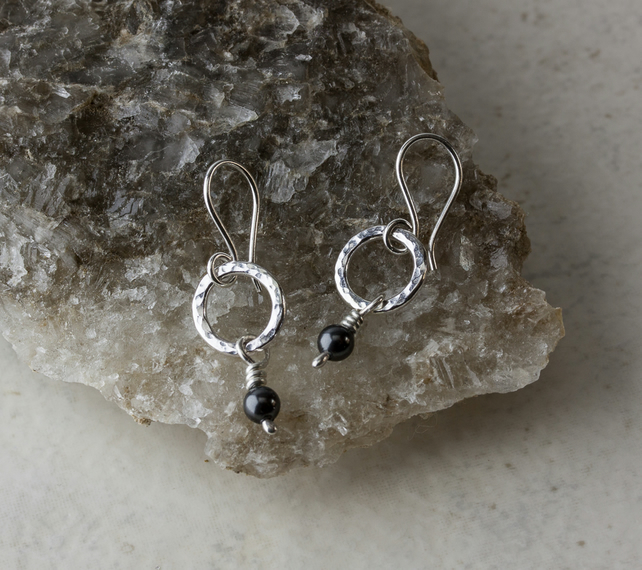 Textured Silver Hoop Earrings with Black Swarovski® Pearl Dangles