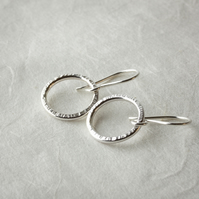 Silver Dangle Hoop Earrings with Hammered Texture