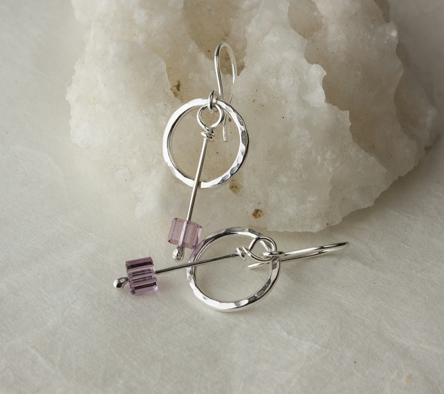 Silver Earrings with Textured Hoops and Swarovski® Amethyst Cube Dangles