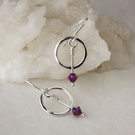 Silver Earrings with Textured Hoops and Swarovski® Crystal Dangles