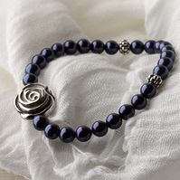 Stretch Stacking Bracelet with Swarovski® Dark Purple Pearls & Focal Rose Bead