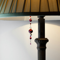 Ruby, Crystal & Silver Beaded Lamp Charm