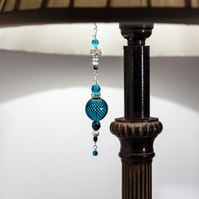 Aqua, Crystal & Silver Beaded Lamp Charm