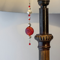 Scarlet, Crystal & Silver Beaded Lamp Charm