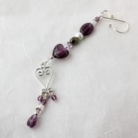 Amethyst, Crystal & Silver Beaded Lamp Charm