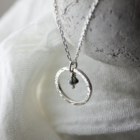 Hammered Silver Hoop Pendant with Swarovski® Silver Night Crystal Charm