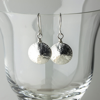 Textured  Silver Seed Head Dangle Earrings